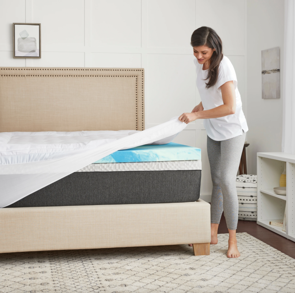 "4"" SealyChill Gel + Comfort Memory Foam Mattress Topper (Photo via Overstock)"
