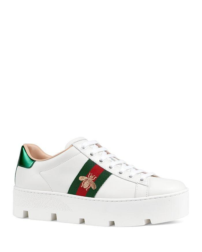 <p>These <span>Gucci Women's Ace Embroidered Platform Sneakers</span> ($790) come with a chunky sole.</p>