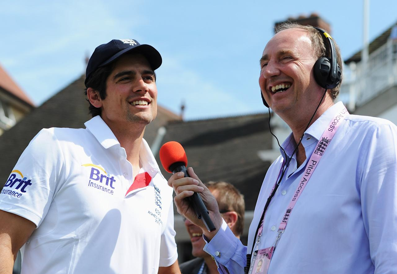 NOTTINGHAM, ENGLAND - JULY 14:  Captain Alastair Cook of England is interviewed by Jonathan Agnew after his team's victory during day five of the 1st Investec Ashes Test match between England and Australia at Trent Bridge Cricket Ground on July 14, 2013 in Nottingham, England.  (Photo by Gareth Copley/Getty Images)
