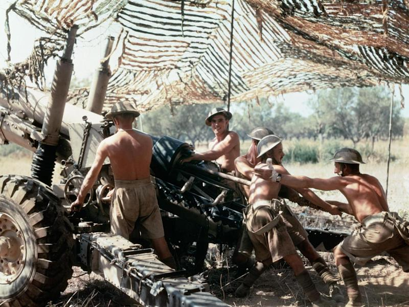 A 5.5-inch gun crew from 75th (Shropshire Yeomanry) Medium Regiment, Royal Artillery, in action in Italy, September 1943
