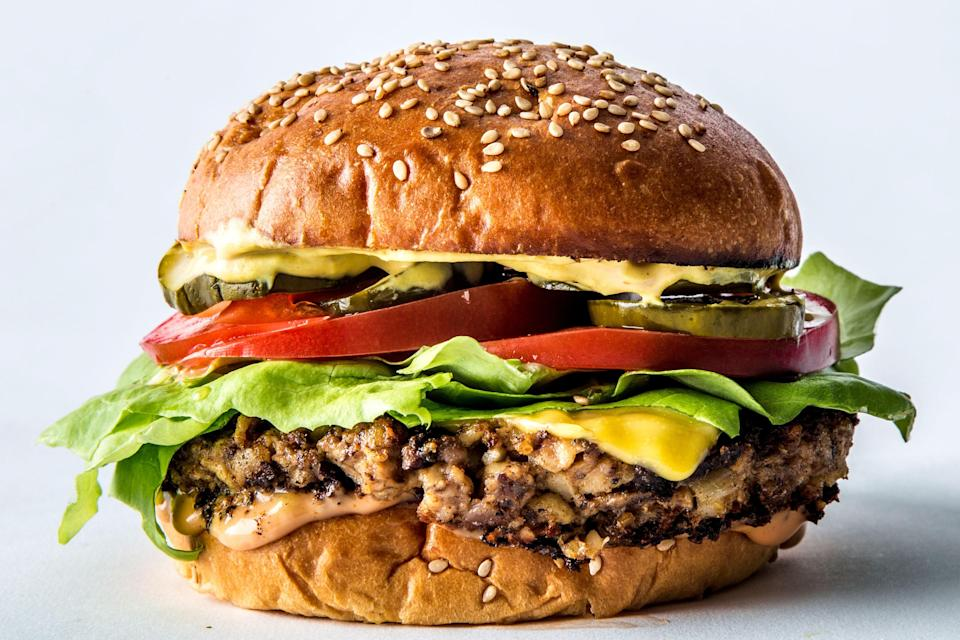 "Veggie burgers are not easy to make awesome, but we think this one nails it. We solved the ""mush"" factor by folding in bouncy mushrooms and pleasantly firm black beans, threw a hard sear on it for crisp texture on the outside, and seasoned it aggressively to combat any blandness. <a href=""https://www.bonappetit.com/recipe/veggie-burger-black-beans-mushrooms?mbid=synd_yahoo_rss"" rel=""nofollow noopener"" target=""_blank"" data-ylk=""slk:See recipe."" class=""link rapid-noclick-resp"">See recipe.</a>"