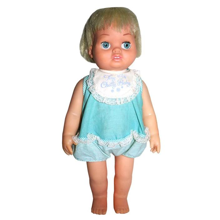 """<p>Chatty Baby came after the success of Mattel's Chatty Cathy doll. The Chatty Baby spoke phrases when the ring on the upper back was pulled. After the """"Chatty Dolls,"""" Mattel trademarked the term """"chatty"""" and released many talking dolls over the years under their """"A Chatty Doll by Mattel"""" category.</p>"""