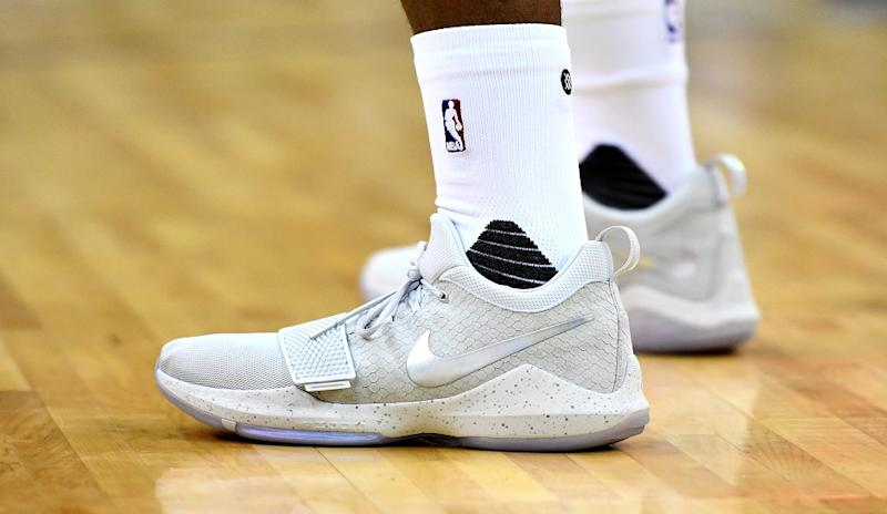 d7075fa78a27 Paul George debuts his Nike PG1 signature shoes in a game held in London.