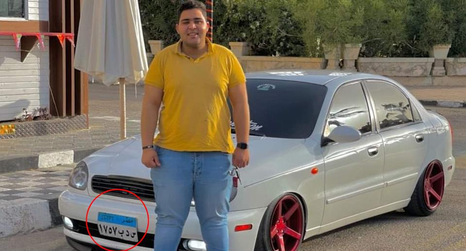 Abdullah Zizou Slowa pictured with his car and licence plate which reads 'CIA-9-25-9', predicting the date and time of his death. Source: Newsflash/Australscope