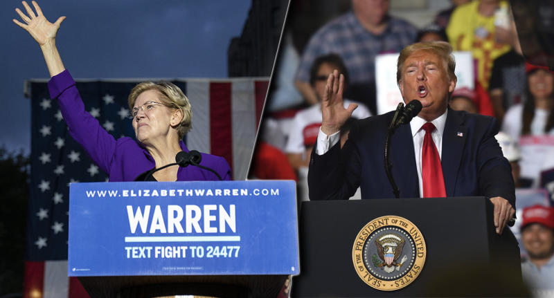 Sen. Elizabeth Warren in Washington Square Park in New York City and Pres. Donald Trump in Rio Rancho, New Mexico, on September 16, 2019. (Photos: Drew Angerer/Getty Images, Nicholas Kamm/AFP/Getty Images)
