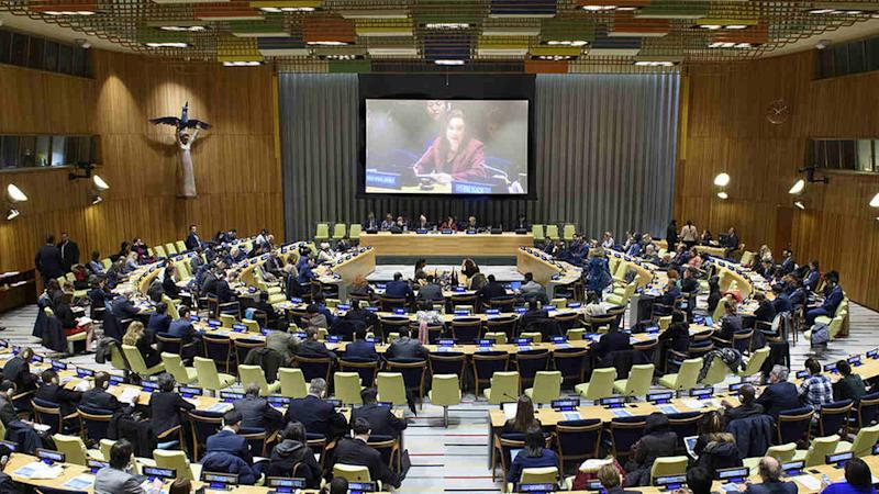 Joint briefing by the President of the General Assembly and the Secretary-General's Special Envoy for the 2019 Climate Summit. image credit: UN