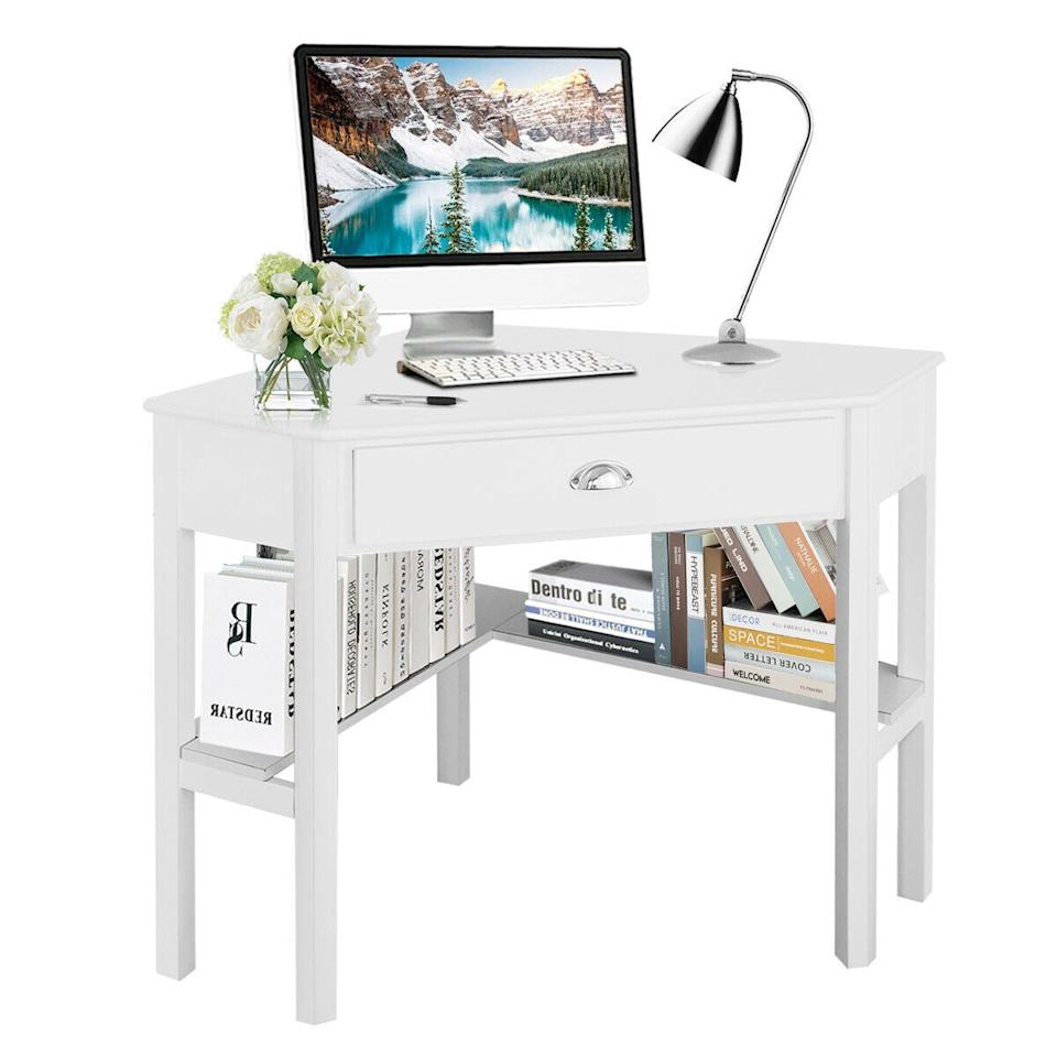 """<h3>Costway Corner Desk<br></h3> <br>Don't waste prime empty corner square footage in your already limited space — instead, go for a strategic desk that's built to conveniently wedge right in. <br><br><strong>Costway</strong> Corner Desk Workstation, White, $, available at <a href=""""https://go.skimresources.com/?id=30283X879131&url=https%3A%2F%2Fwww.walmart.com%2Fip%2FCostway-Corner-Computer-Desk-Laptop-Writing-Table-Wood-Workstation-Home-Office-Furniture-White%2F388826494"""" rel=""""nofollow noopener"""" target=""""_blank"""" data-ylk=""""slk:Walmart"""" class=""""link rapid-noclick-resp"""">Walmart</a>"""