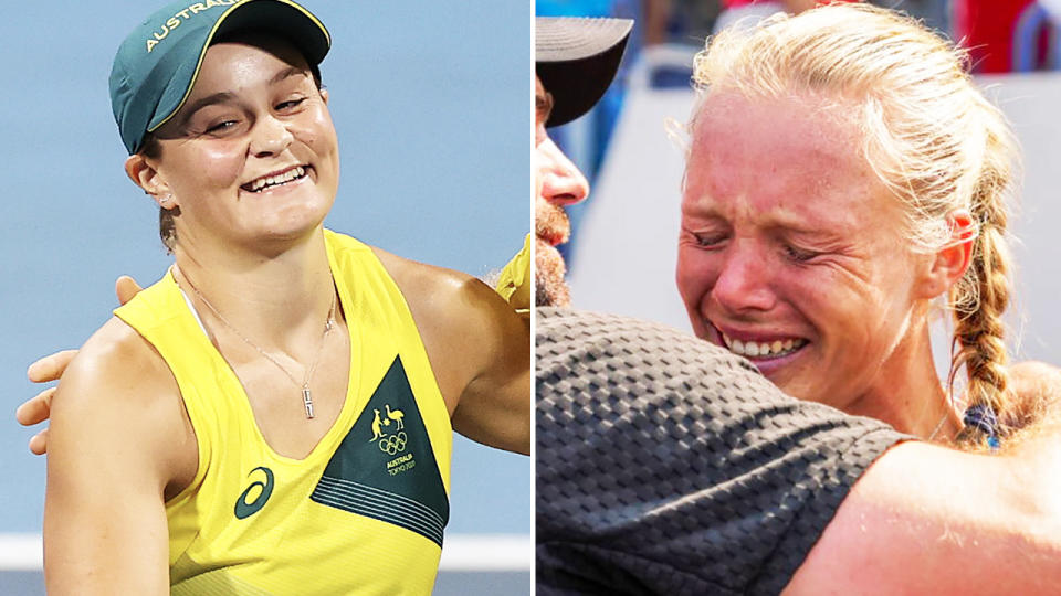 Ash Barty and Kiki Bertens, pictured here in action at the Tokyo Olympics.