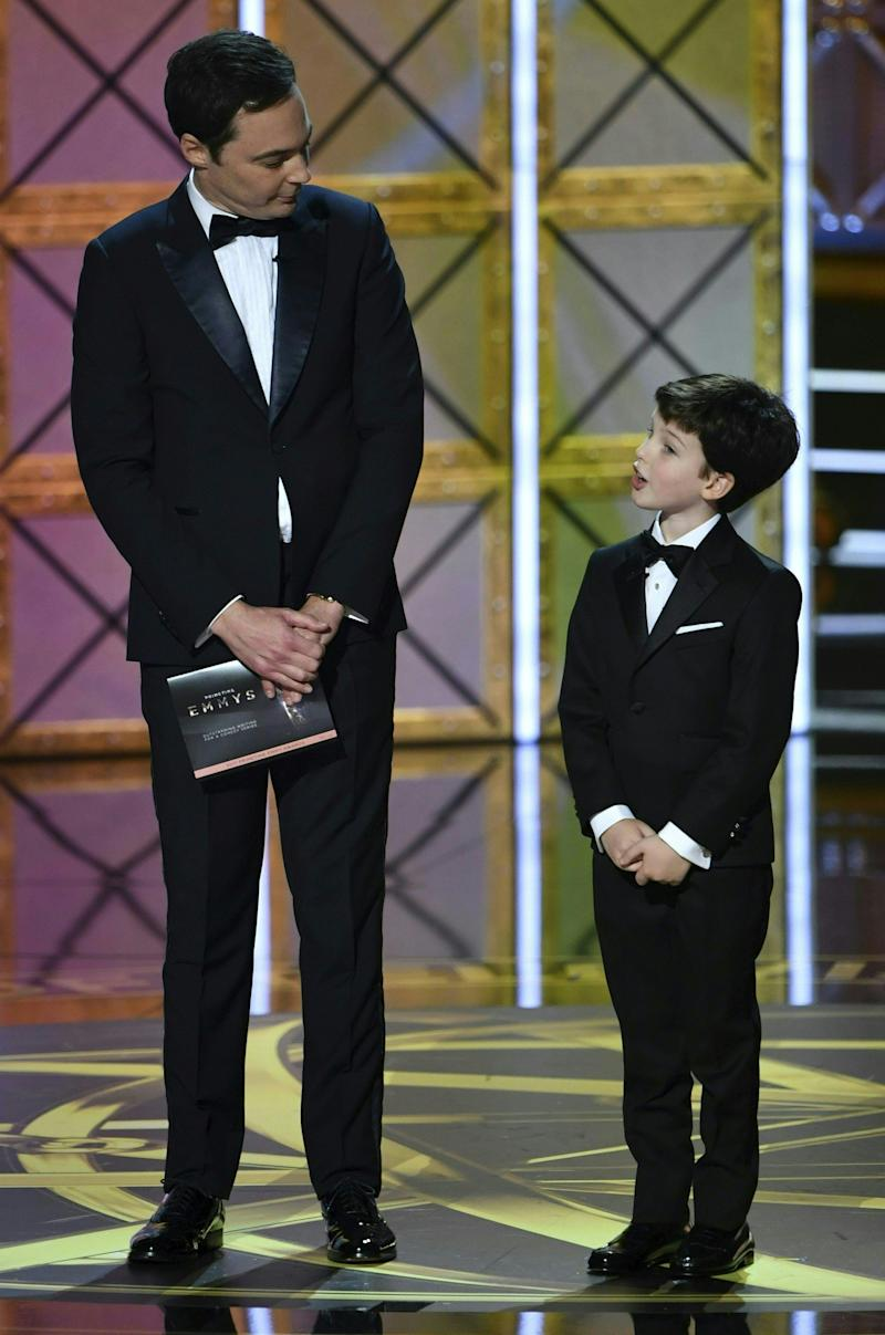 Jim parsons and Iain Armitage speak onstage during the 69th Emmy Awards at the Microsoft Theatre on Sept. 17, 2017 in Los Angeles, California.