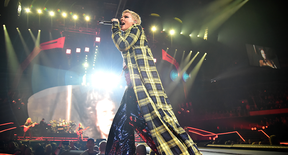 """P!nk onstage during her """"Beautiful Trauma"""" tour. (Photo: Getty Images)"""