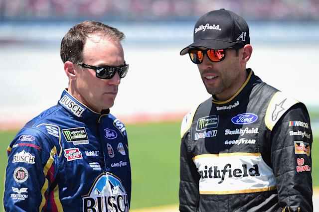 "<a class=""link rapid-noclick-resp"" href=""/nascar/sprint/drivers/205/"" data-ylk=""slk:Kevin Harvick"">Kevin Harvick</a> and <a class=""link rapid-noclick-resp"" href=""/nascar/sprint/drivers/1361/"" data-ylk=""slk:Aric Almirola"">Aric Almirola</a> gave their thoughts Friday on the reports NASCAR could be for sale. (Getty)"