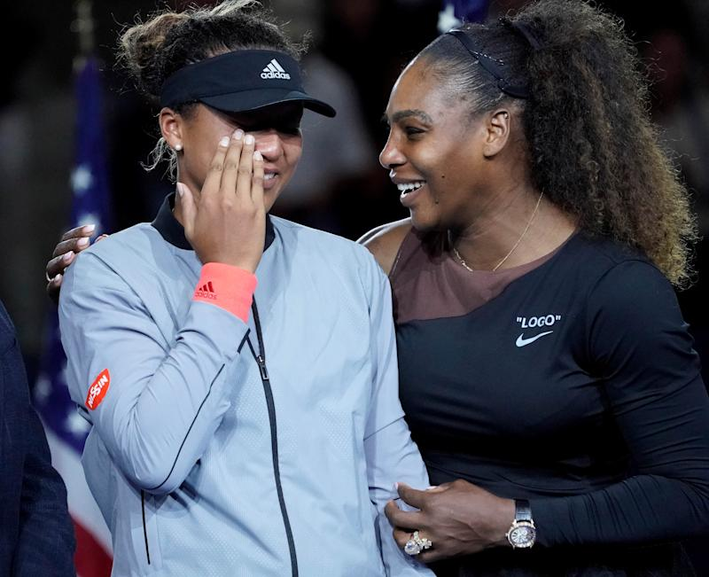 Sept 8, 2018; New York, NY, USA; Naomi Osaka of Japan (left) cries as Serena Williams of the USA comforts her after the crowd booed during the trophy ceremony following the women's final on day thirteen of the 2018 U.S. Open tennis tournament at USTA Billie Jean King National Tennis Center. Mandatory Credit: Robert Deutsch-USA TODAY Sports TPX IMAGES OF THE DAY