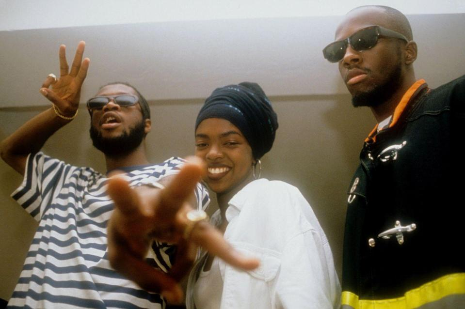 <p>The Fugees—Wyclef Jean, Lauryn Hill, and Pras Michel—backstage at the Manhattan Center in 1993 in New York City.</p>