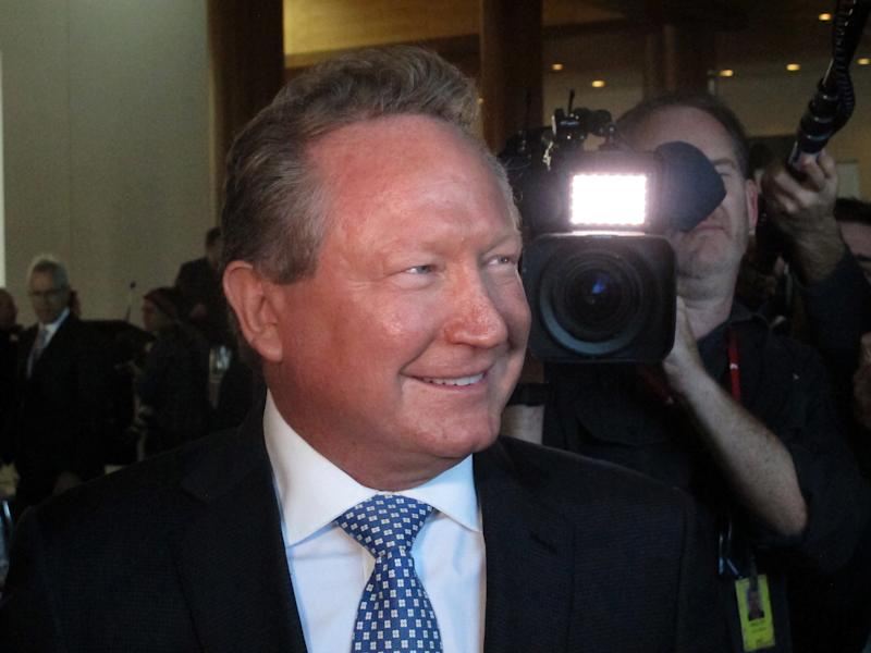 Iron ore mining magnate Andrew Forrest arrives at Australia's Parliament House in Canberra, Monday, May 22, 2017. Forrest said Monday he was donating 400 million Australian dollars ($300 million) to charities in what has been described as a new record in Australian philanthropy. (AP Photo/Rod McGuirk)