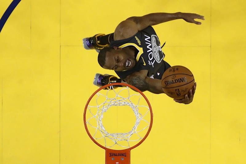 Andre Iguodala of the Golden State Warriors attempts a shot against the Toronto Raptors during Game 6 of the 2019 NBA Finals at Oracle Arena in June.
