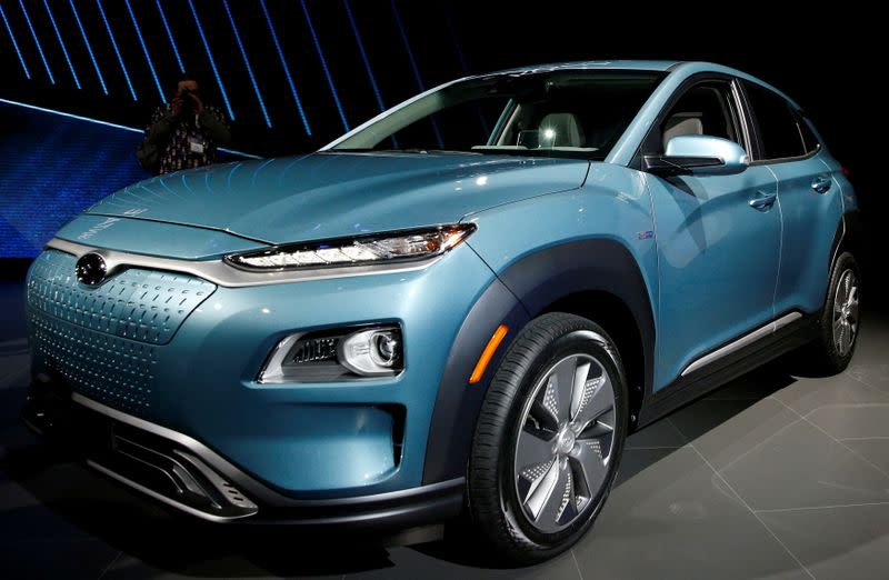 FILE PHOTO: 2019 Hyundai Kona Electric vehicle is displayed at the New York Auto Show in New York