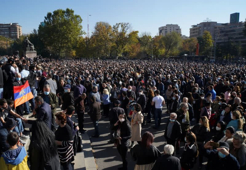 Opposition rally to demand the resignation of Armenian PM Pashinyan following the signing of a deal to end the military conflict over the Nagorno-Karabakh region, in Yerevan
