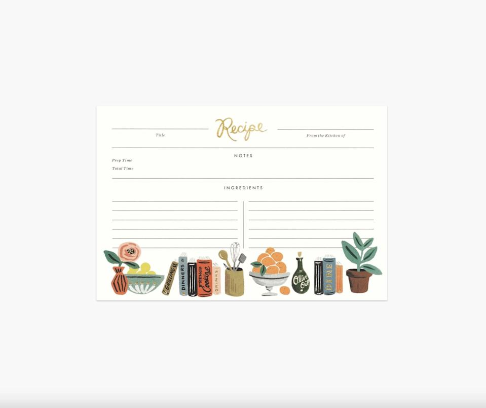 <p>You won't want to use these <span>Kitchen Shelf Recipe Cards</span> ($10) because they are so visually pleasing. </p>