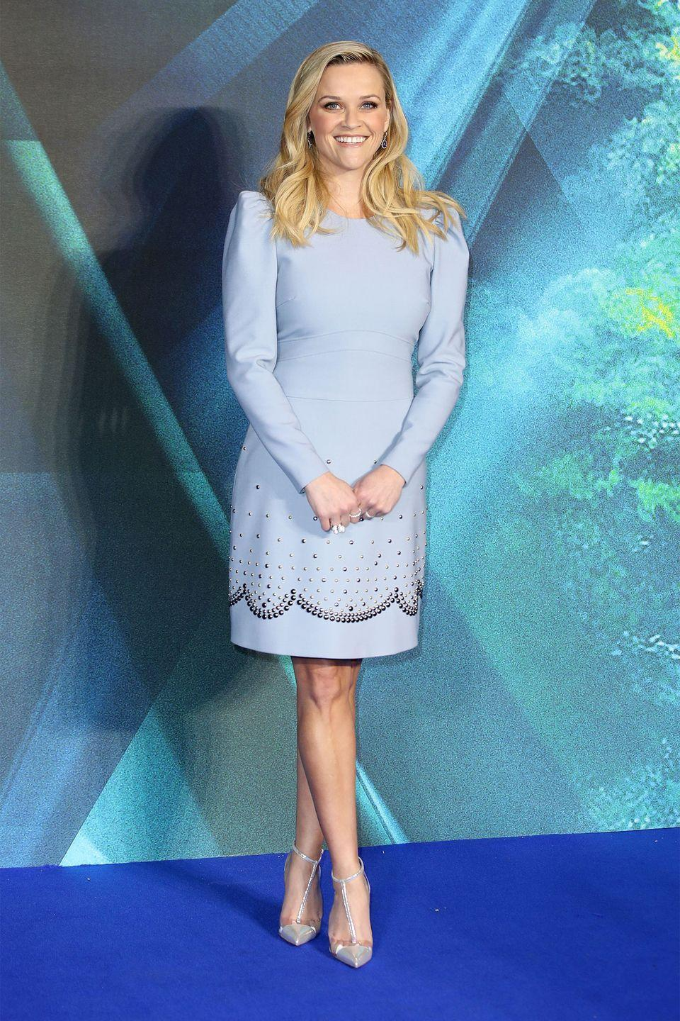 <p>For a <em>Wrinkle in Time's </em>European premiere, Witherspoon looked regal in a Elie Saab ice blue embellished frock. </p>