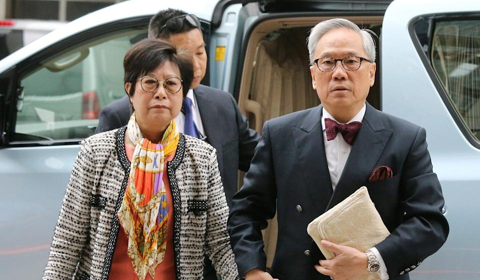Former chief executive Donald Tsang and his wife arrive at the High Court to appeal against the misconduct conviction obtained by Queen's Counsel David Perry. Photo: Dickson Lee