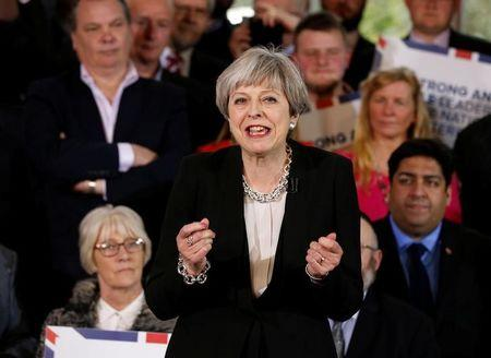 Britain's Prime Minister Theresa May delivers a speech to Conservative Party members to launch their election campaign in Walmsley Parish Hall, Bolton