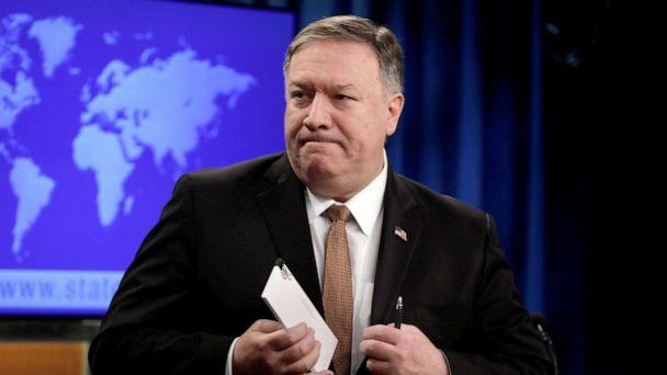PHOTO: Secretary of State Mike Pompeo leaves after a briefing on Iran at the State Department in Washington, D.C., April 8, 2019. (Yuri Gripas/Reuters)