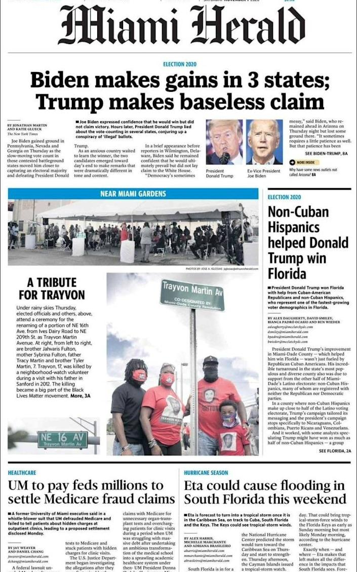 The front page of the Miami Herald