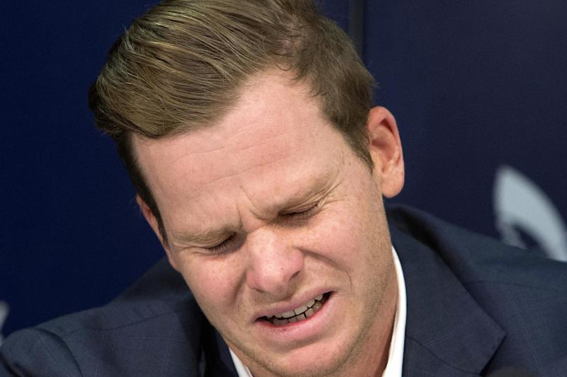 Crying shame | Deposed Australia captain Steve Smith gave a tearful press conference in March, apologising for his role in the ball-tampering scandal: AP