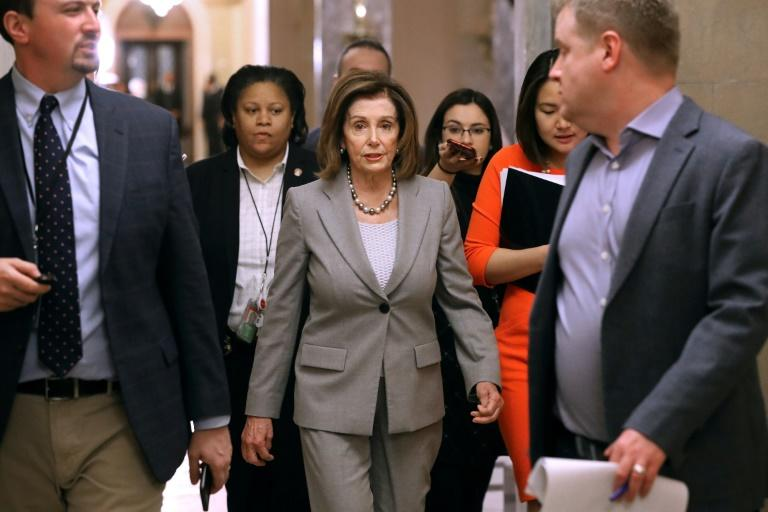 US House Speaker Nancy Pelosi, seen walking to her office on January 10, 2020, said House impeachment hearings produced enough evidence to convict President Donald Trump