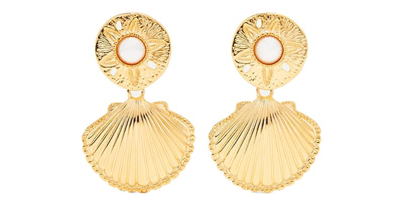 Kenneth Jay Lane's Gold Faux Pearl Clip Earrings