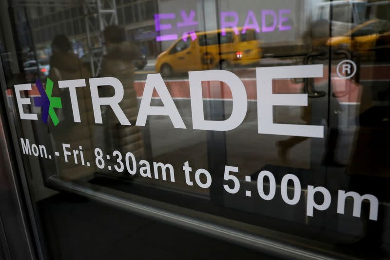 E*Trade Financial offices are seen, after it was announced that Morgan Stanley is buying the discount brokerage, in New York