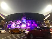 The Eden Garden Cricket Stadium Pink illuminated on November 21,2019 in Kolkata,India. a historic venue, getting ready to host Indias first Day-Night Pink Ball Test from November 22. Indias opponent is Bangladesh and the haze seems to denote the mists of time through which Kolkatas prized playing field has come with credit, being witness to many a humdinger across formats. (Photo by Debajyoti Chakraborty/NurPhoto via Getty Images)