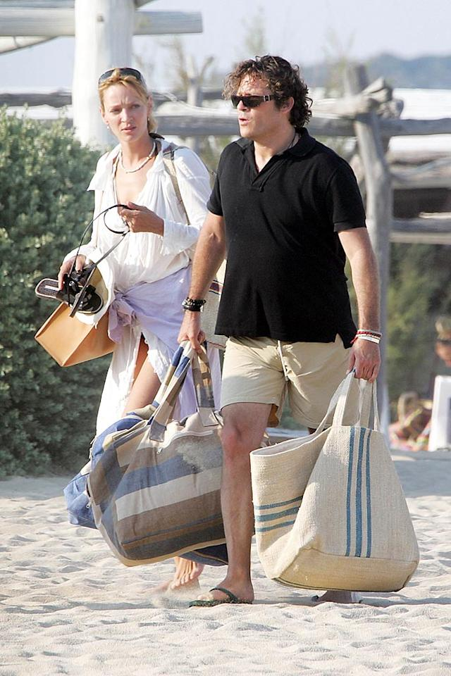 "Uma Thurman and her fiance, financier Arpad ""Arki"" Busson, holiday in Saint-Tropez, France. <a href=""http://www.infdaily.com"" target=""new"">INFDaily.com</a> - June 28, 2008"