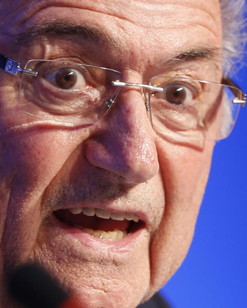 FIFA President Joseph Blatter speaks during a press conference one day before the draw for the 2014 soccer World Cup in Costa do Sauipe near Salvador, Brazil, Thursday, Dec. 5, 2013. (AP Photo/Victor Caivano)