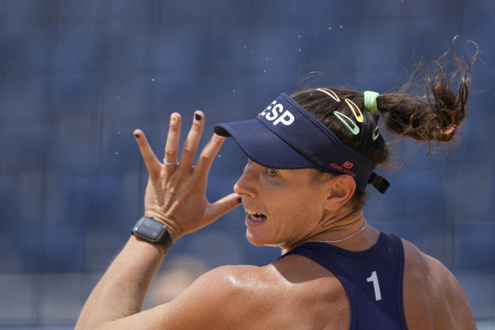 Liliana Fernandez Steiner, of Spain, looks for the ball during a women's beach volleyball match against Canada at the 2020 Summer Olympics, Monday, Aug. 2, 2021, in Tokyo, Japan. (AP Photo/Petros Giannakouris)