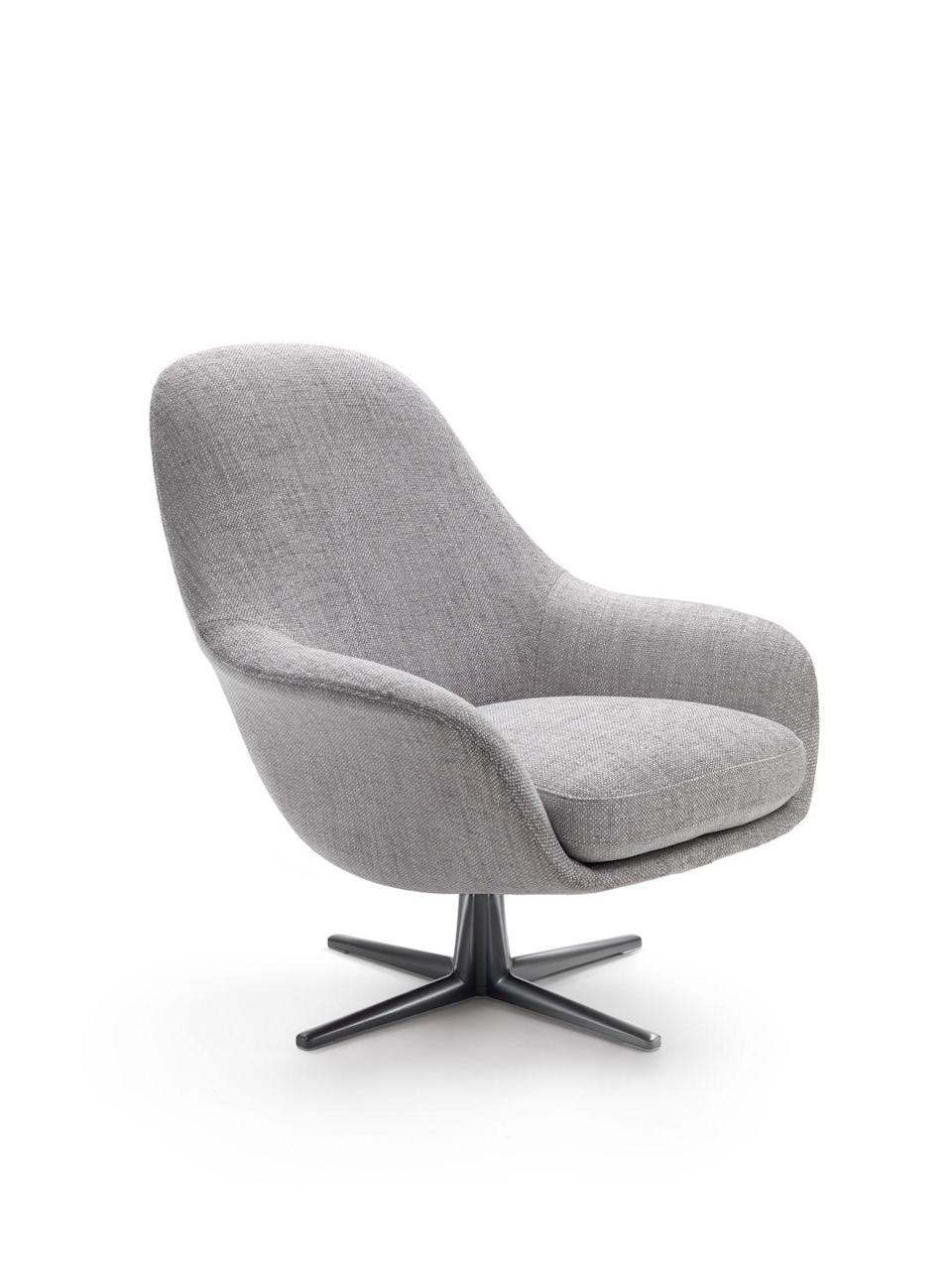"""<p>A truly welcoming armchair is practical as well as comfortable and beautiful. A fact that hasn't escaped Italian designer Carlo Colombo, who created the 'Sveva Soft' armchair for Flexform. Made to cocoon yet support the body, it has a structured shell, goose-down cushion and robust cast- aluminium swivel base. From £4,012, <a href=""""https://www.interdesignuk.biz/"""" rel=""""nofollow noopener"""" target=""""_blank"""" data-ylk=""""slk:interdesignuk.biz"""" class=""""link rapid-noclick-resp"""">interdesignuk.biz</a></p>"""