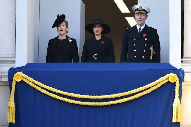 PHOTO: Sophie, Countess of Wessex, Meghan, Duchess of Sussex and Vice Admiral Timothy Laurence attend the Remembrance Sunday ceremony at the Cenotaph on Whitehall in central London, Nov. 10, 2019. (Daniel Leal-olivas/AFP/Getty Images)