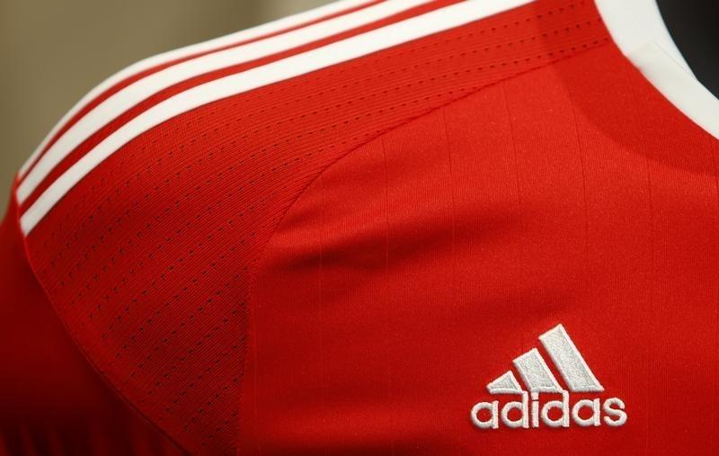 Adidas logo is pictured at shirt before company annual general meeting in Fuerth