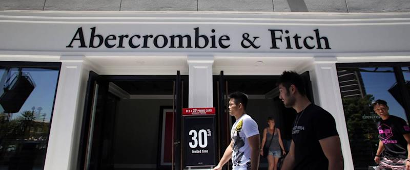 LAS VEGAS, NEVADA - FRI. JUNE 27, 2014: Shoppers walk past an Abercrombie & Fitch clothing store in Las Vegas, Nevada, on Friday, June, 27, 2014.