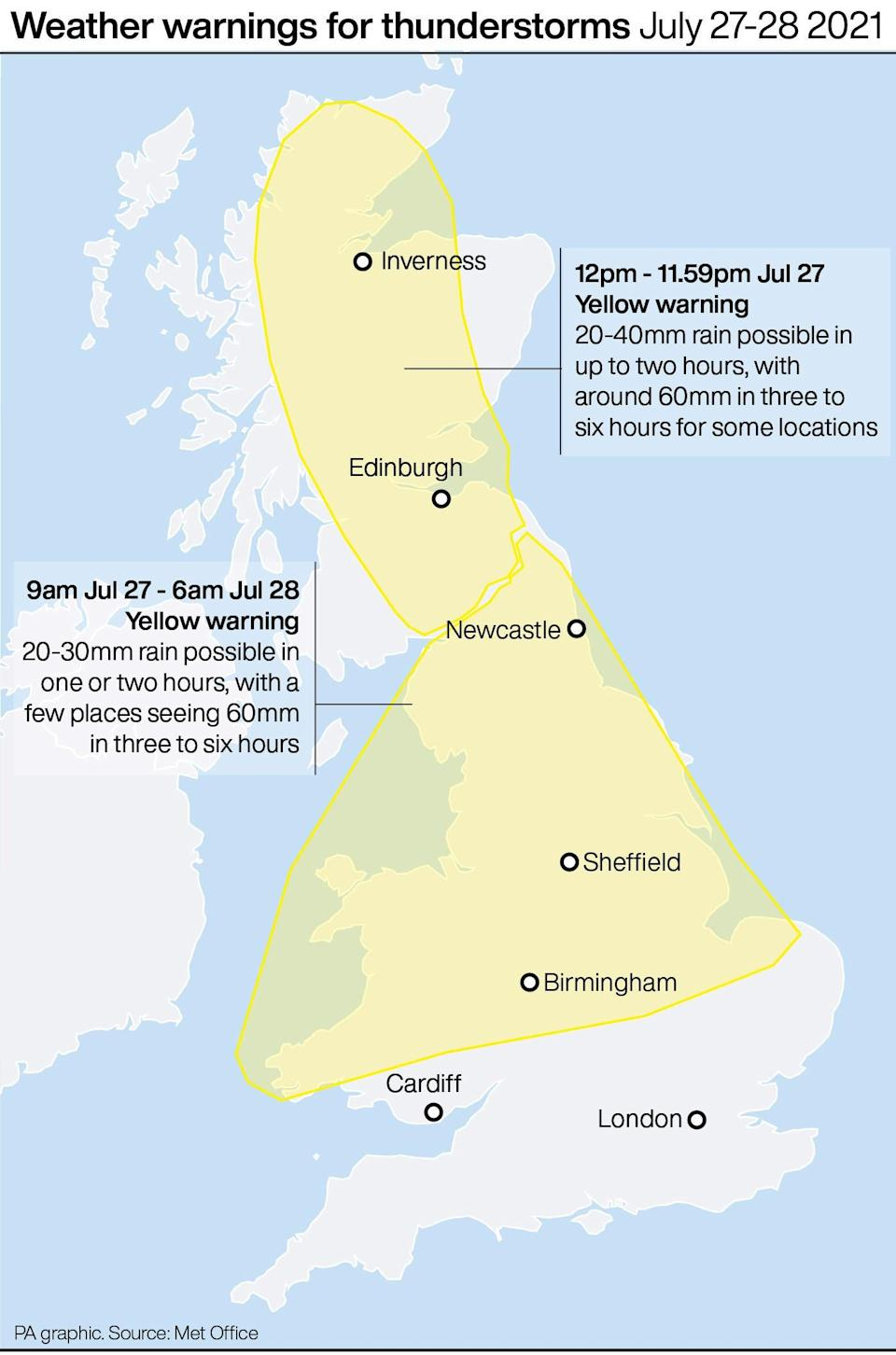 Weather warnings for thunderstorms (PA Graphics) (PA Graphics)