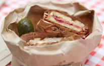 """<p>""""I love a good deli sandwich more than anything. So one day my husband gave me a brown bag and I thought it was a <a href=""""http://www.prevention.com/food/healthy-sandwich-makeover-recipes"""" rel=""""nofollow noopener"""" target=""""_blank"""" data-ylk=""""slk:deli sandwich"""" class=""""link rapid-noclick-resp"""">deli sandwich</a>. I was knee-deep in cleaning out a closet at the time and I was so excited for the sandwich, but when I opened it up it was a blue bag from Tiffany's with jewelry inside. That was 9 years ago and I remember it like it was yesterday."""" <em>–Audra</em></p>"""