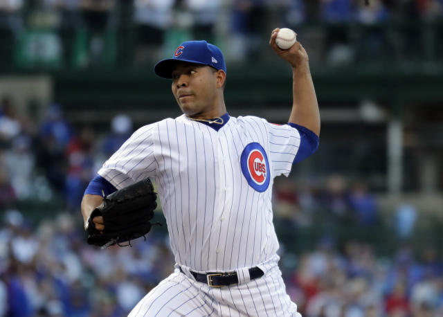 Chicago Cubs starting pitcher Jose Quintana throws against the St. Louis Cardinals during the first inning of a baseball game Sunday, May 5, 2019, in Chicago. (AP Photo/Nam Y. Huh)
