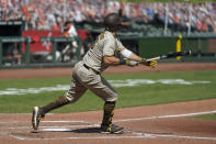 San Diego Padres' Mitch Moreland hits an RBI double to deep left field in the fourth inning of a baseball game against the San Francisco Giants Sunday, Sept. 27, 2020, in San Francisco. (AP Photo/Eric Risberg)