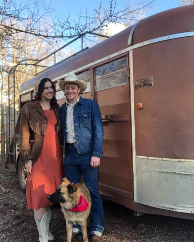 Lauara Gaucher, left, and Boots Graham in front of the old horse trailer they hope to transform into a hub for country fashion and music. (Courtesy of Boot Graham - image credit)