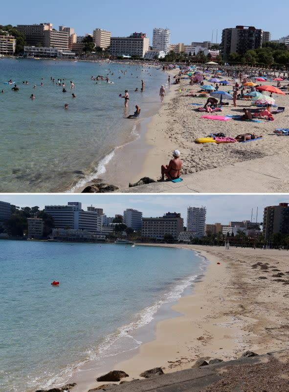 FILE PHOTO: A combination photo shows tourists on the beach of Son Matias and the beach empty during the coronavirus disease (COVID-19) outbreak in Magaluf