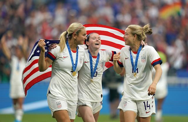 USA's Lindsey Horan (left), Rose Lavelle and Emily Sonnett are three of the 23 USWNT players who bought in to period tracking to reduce any lags in performance at the World Cup. (Photo by John Walton/EMPICS/PA Images via Getty Images)