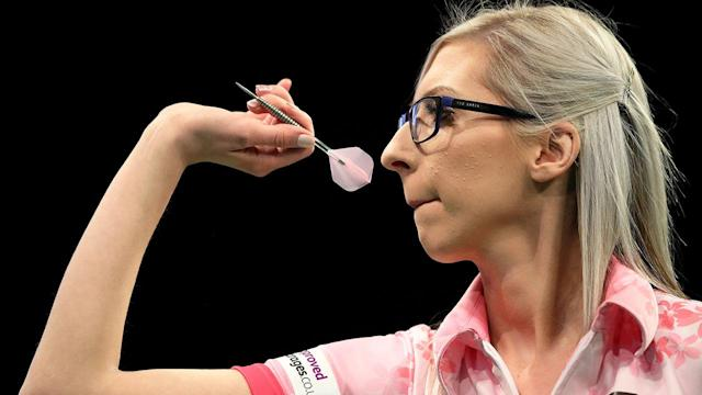 Fallon Sherrock throws in her match against Glen Durrant during day two of the Unibet Premier League in Nottingham. Pic: Getty