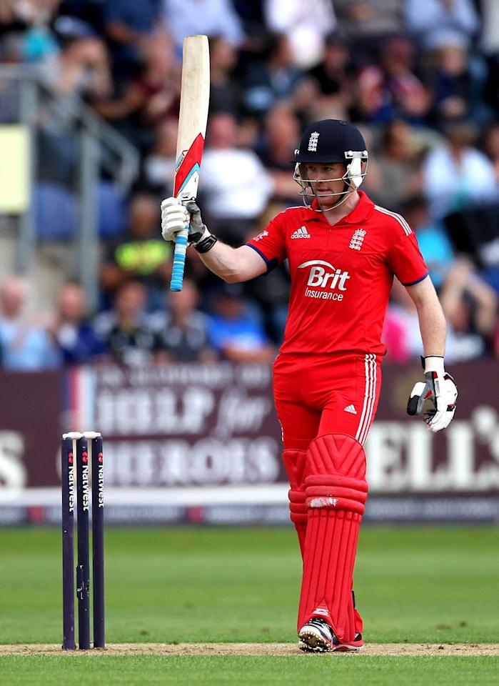 England's Eoin Morgan acknowledges the crowd after reaching 50 during the fourth one day international at the SWALEC Stadium, Cardiff.
