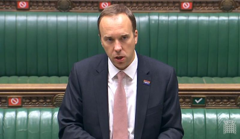 Health Secretary Matt Hancock giving a statement to MPs in the House of Commons, London.