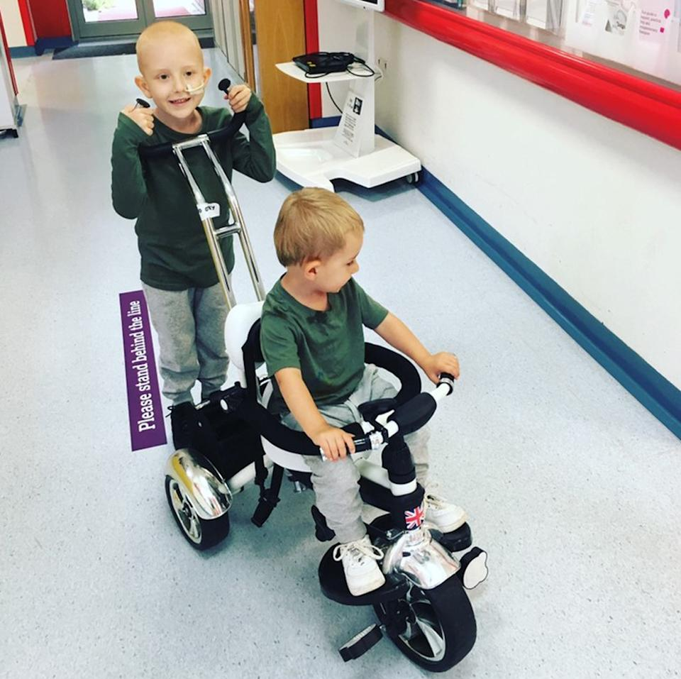Tommy and his brother, Teddy, at the Royal Marsden Hospital in July 2020. (PA Real Life /Collect)